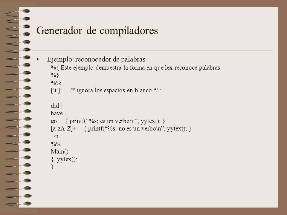 Generador de compiladores