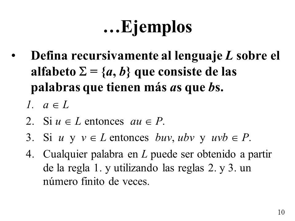 …Ejemplos Defina recursivamente al lenguaje L sobre el alfabeto  = {a, b} que consiste de las palabras que tienen más as que bs.