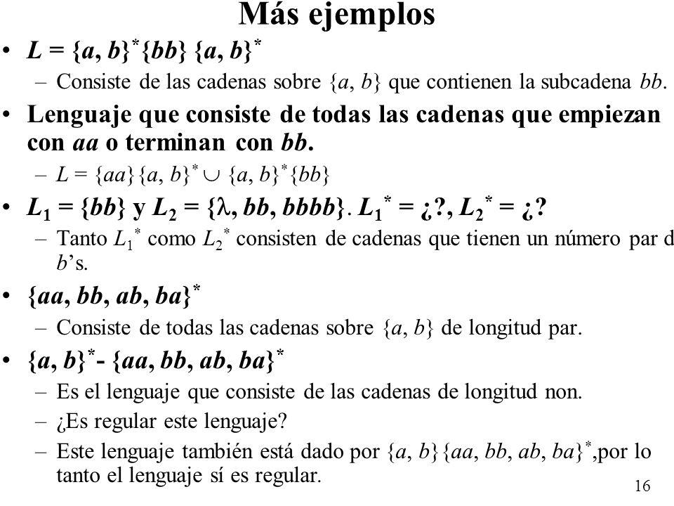 Más ejemplos L = {a, b}*{bb} {a, b}*