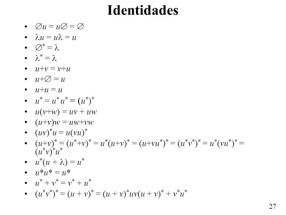 Identidades u = u =  u = u = u * =  * =  u+v = v+u u+ = u