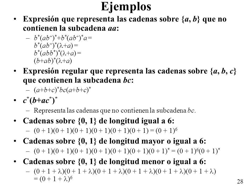 Ejemplos Expresión que representa las cadenas sobre {a, b} que no contienen la subcadena aa: