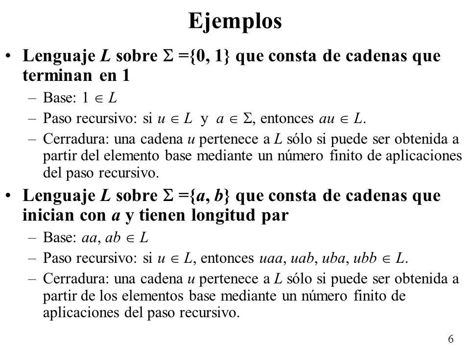 Ejemplos Lenguaje L sobre  ={0, 1} que consta de cadenas que terminan en 1. Base: 1  L. Paso recursivo: si u  L y a  , entonces au  L.
