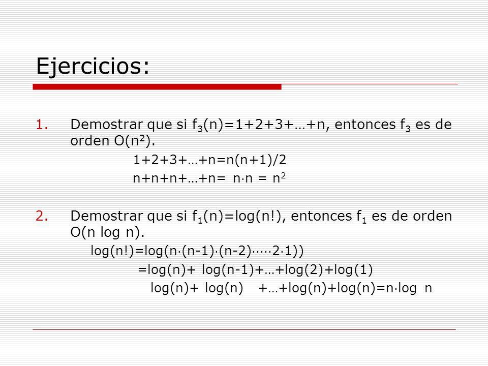 Ejercicios:Demostrar que si f3(n)=1+2+3+…+n, entonces f3 es de orden O(n2). 1+2+3+…+n=n(n+1)/2. n+n+n+…+n= n·n = n2.