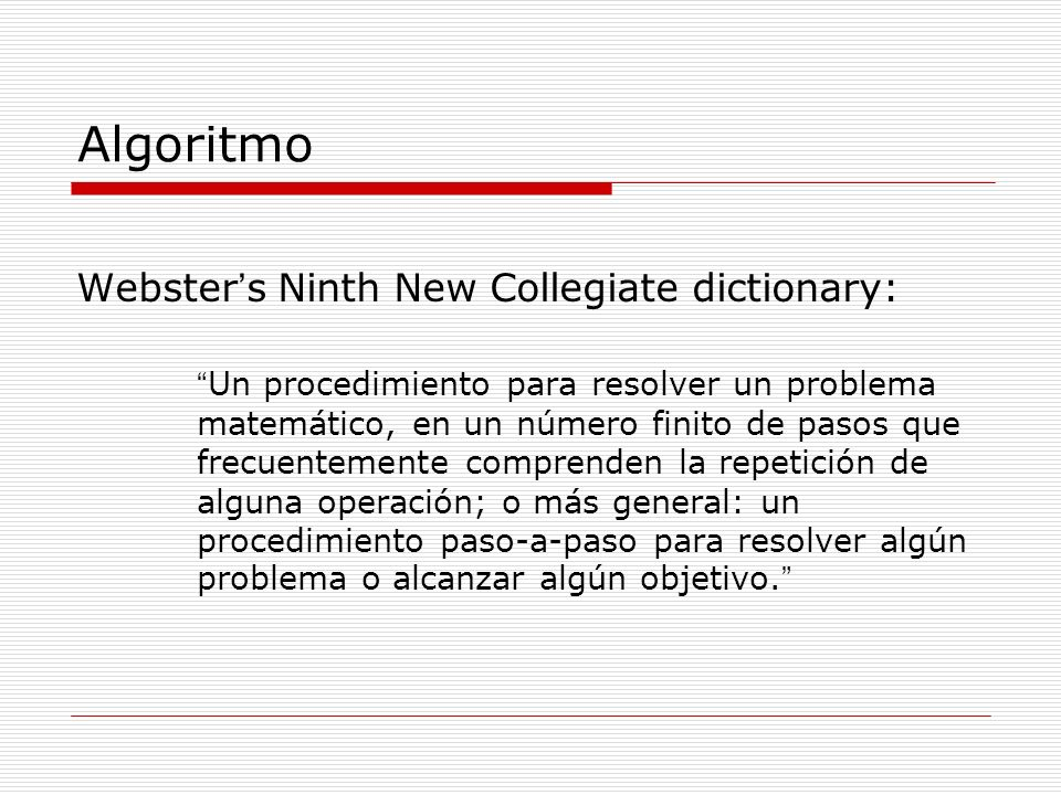 Algoritmo Webster's Ninth New Collegiate dictionary: