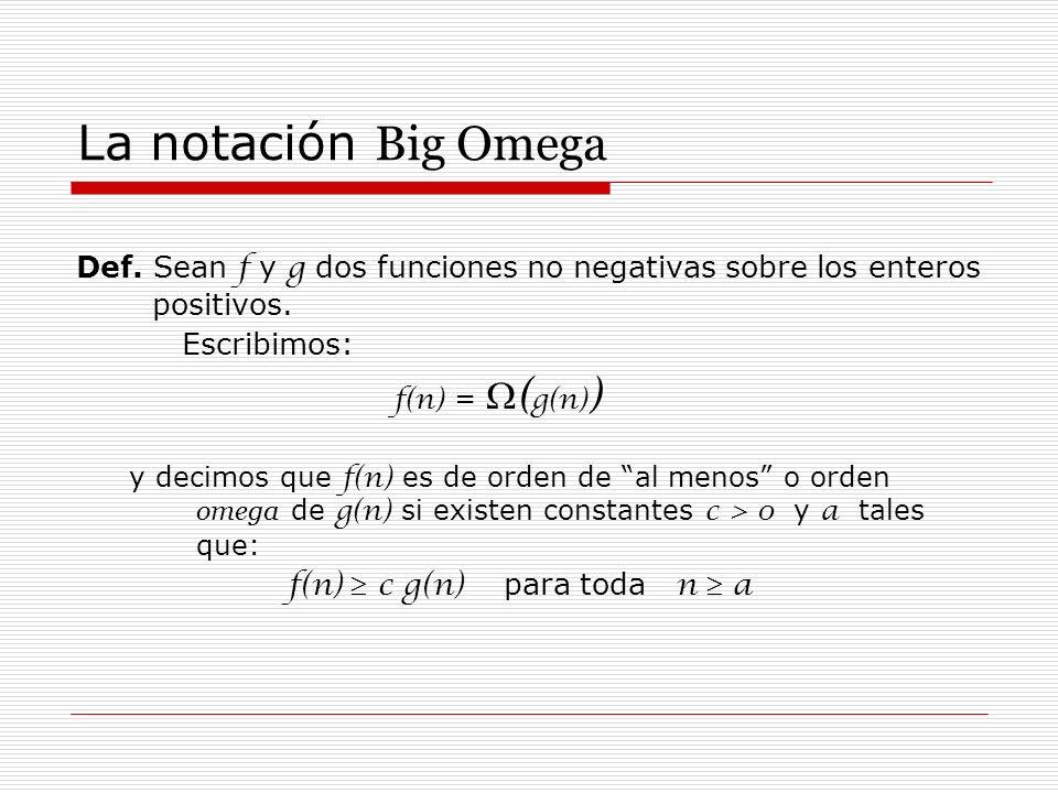 La notación Big OmegaDef. Sean f y g dos funciones no negativas sobre los enteros positivos. Escribimos: