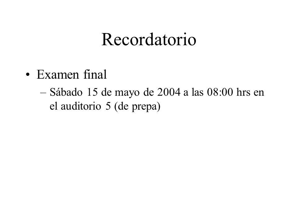 Recordatorio Examen final
