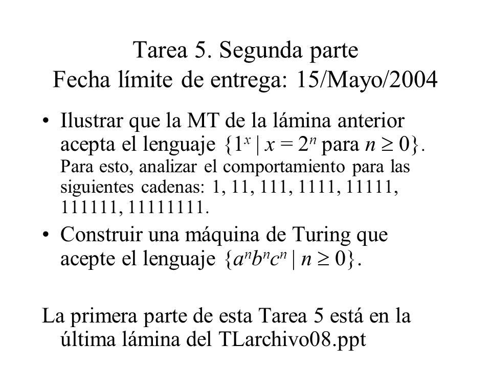 Tarea 5. Segunda parte Fecha límite de entrega: 15/Mayo/2004