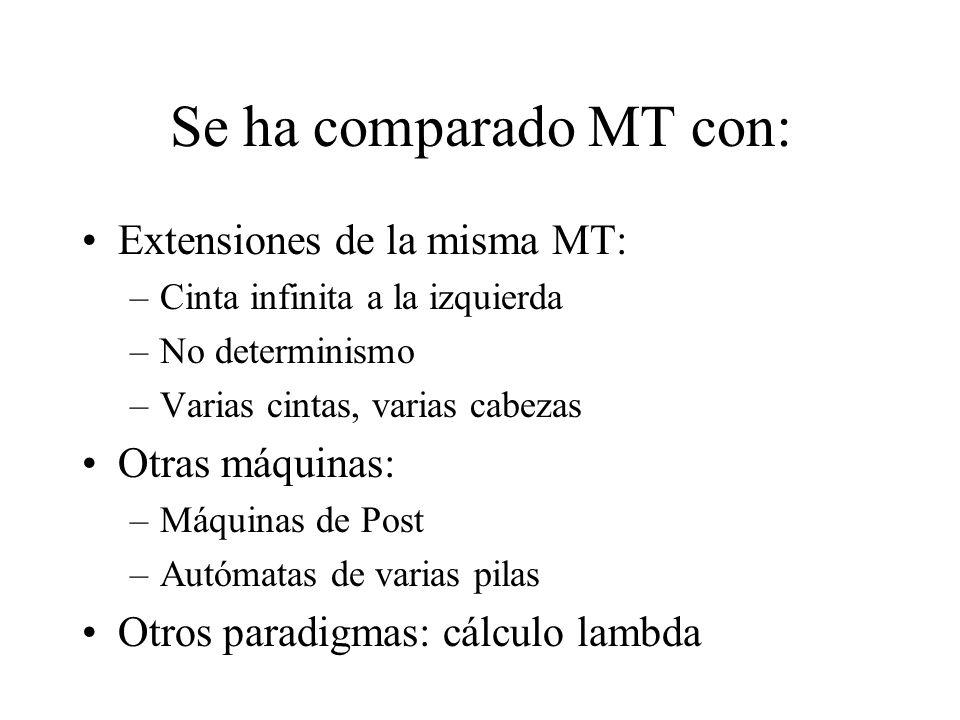 Se ha comparado MT con: Extensiones de la misma MT: Otras máquinas: