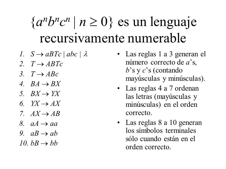 {anbncn | n  0} es un lenguaje recursivamente numerable