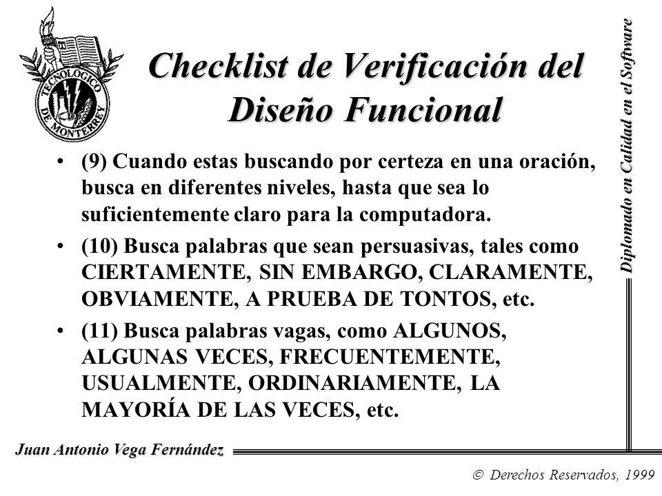 Checklist de Verificación del Diseño Funcional