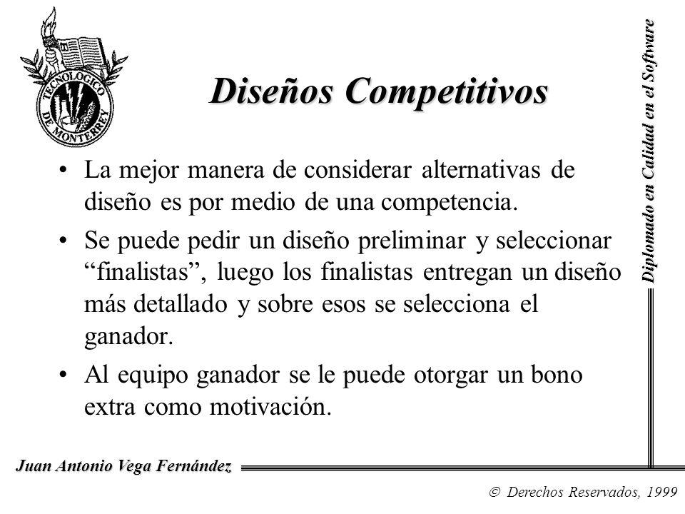 Diseños Competitivos Diplomado en Calidad en el Software. La mejor manera de considerar alternativas de diseño es por medio de una competencia.