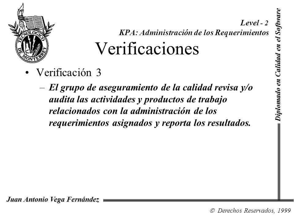 Level - 2 KPA: Administración de los Requerimientos Verificaciones