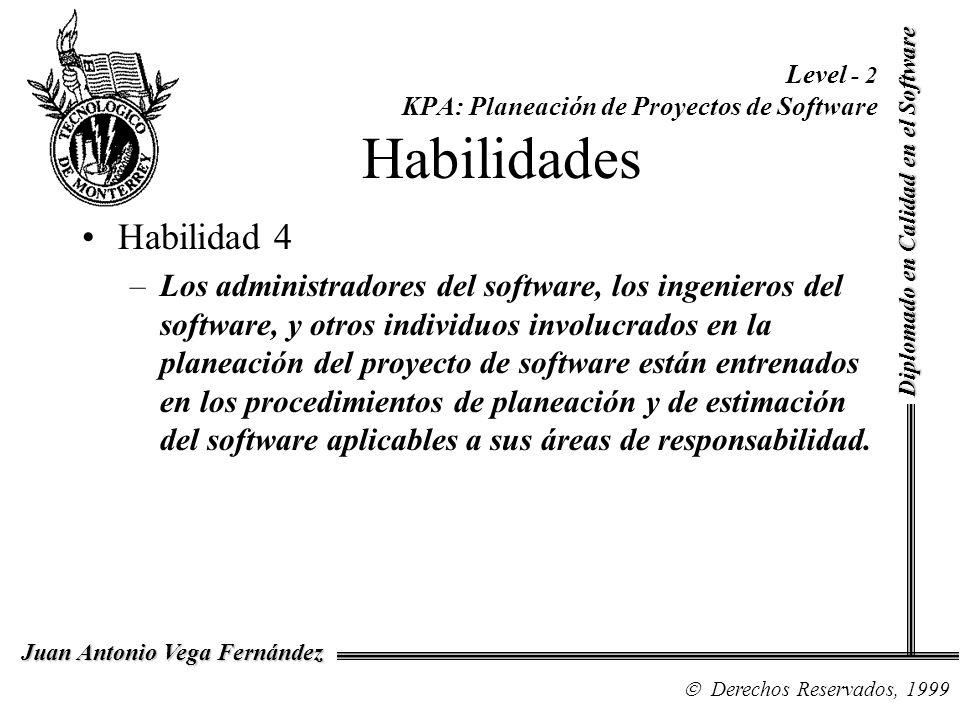 Level - 2 KPA: Planeación de Proyectos de Software Habilidades