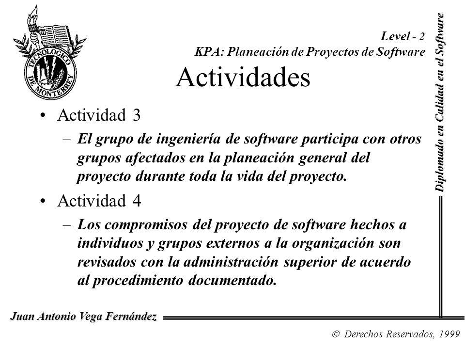Level - 2 KPA: Planeación de Proyectos de Software Actividades