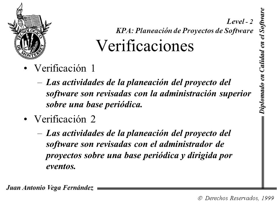 Level - 2 KPA: Planeación de Proyectos de Software Verificaciones