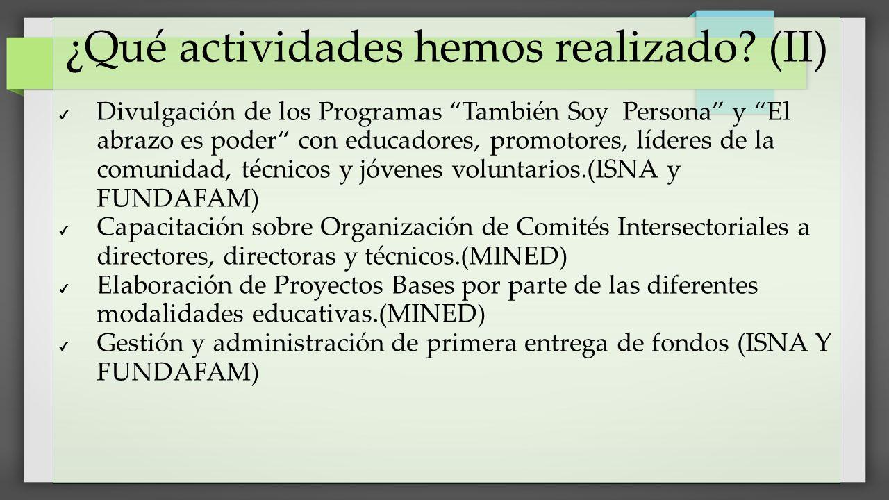 ¿Qué actividades hemos realizado (II)