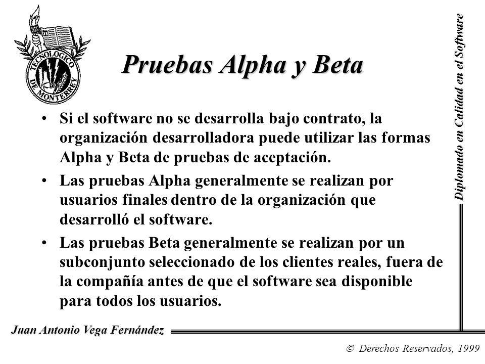 Pruebas Alpha y Beta Diplomado en Calidad en el Software.