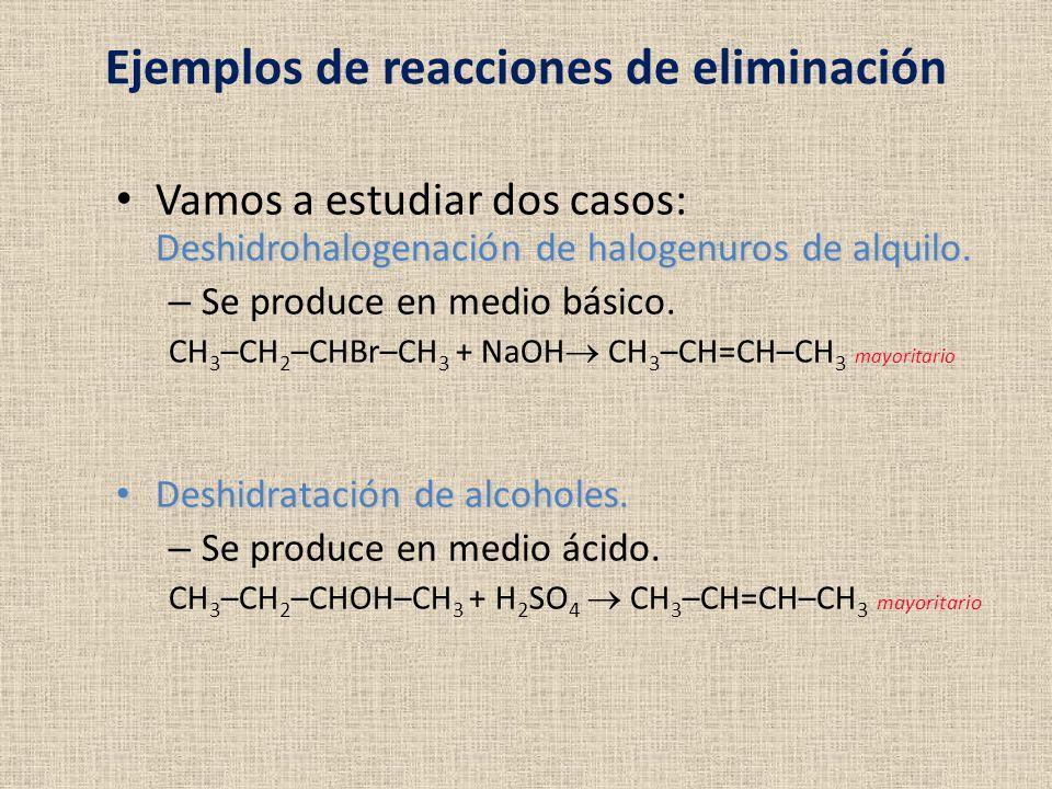 Ejemplos de reacciones de eliminación
