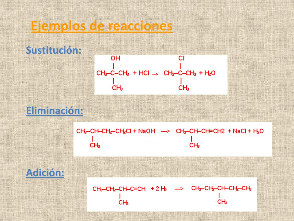 Ejemplos de reacciones