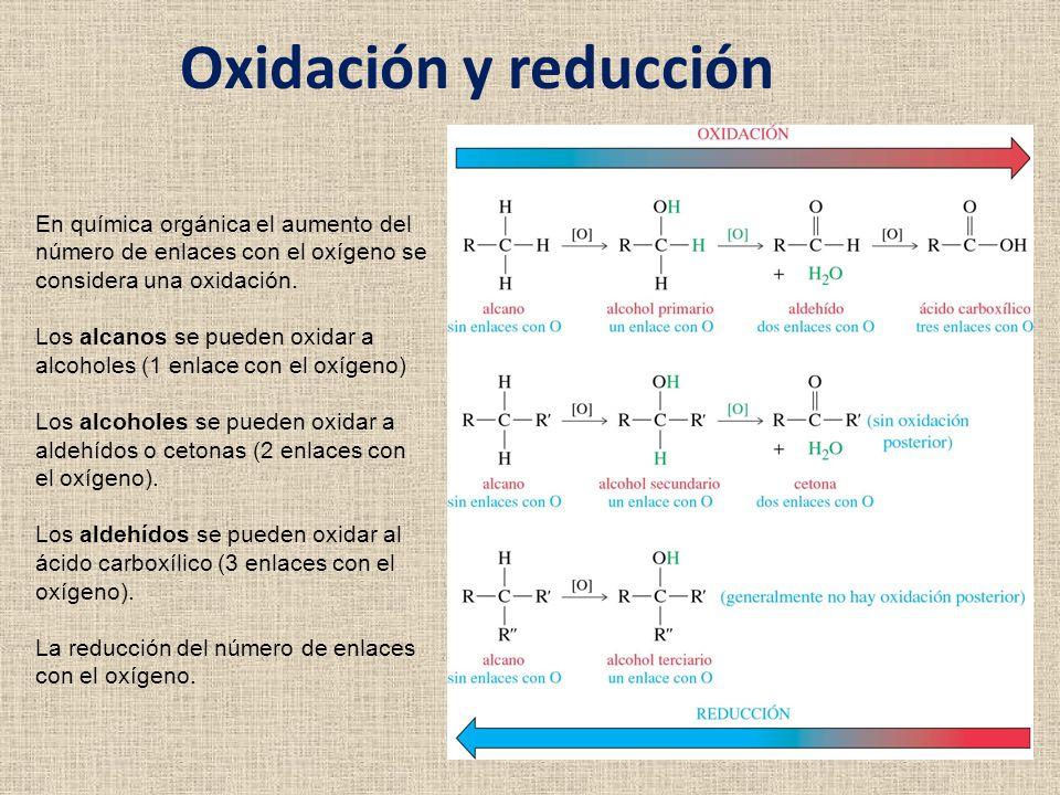 Oxidación y reducción En química orgánica el aumento del número de enlaces con el oxígeno se considera una oxidación.