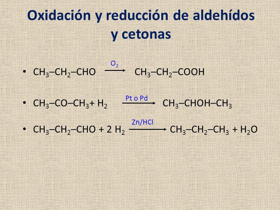 Oxidación y reducción de aldehídos y cetonas