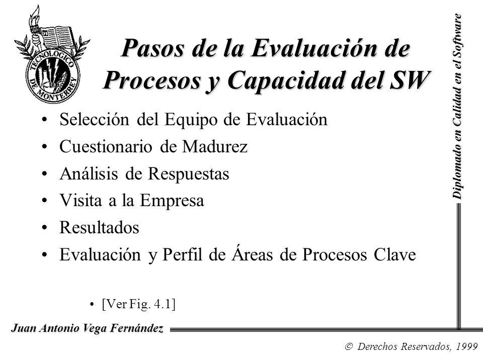 Pasos de la Evaluación de Procesos y Capacidad del SW