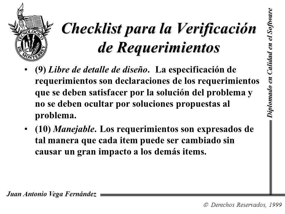 Checklist para la Verificación de Requerimientos