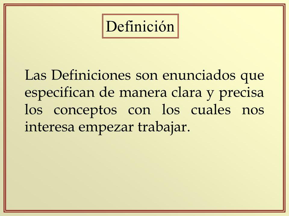 Definición Las Definiciones son enunciados que especifican de manera clara y precisa los conceptos con los cuales nos interesa empezar trabajar.