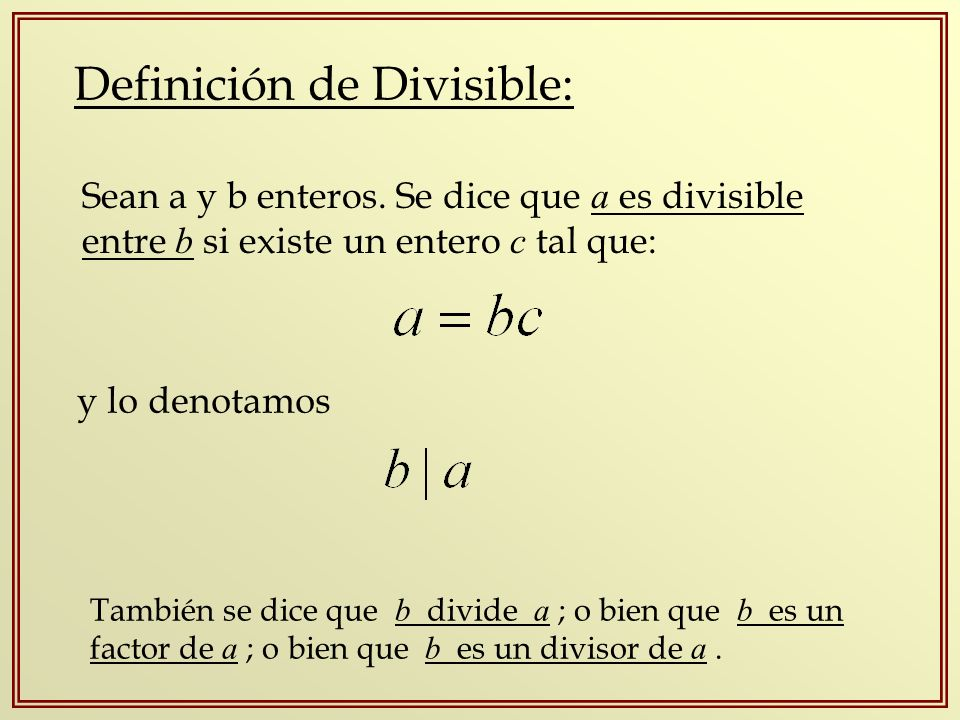 Definición de Divisible: