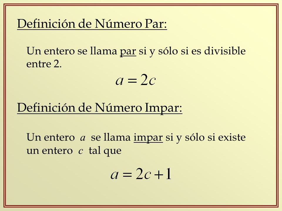Definición de Número Par: