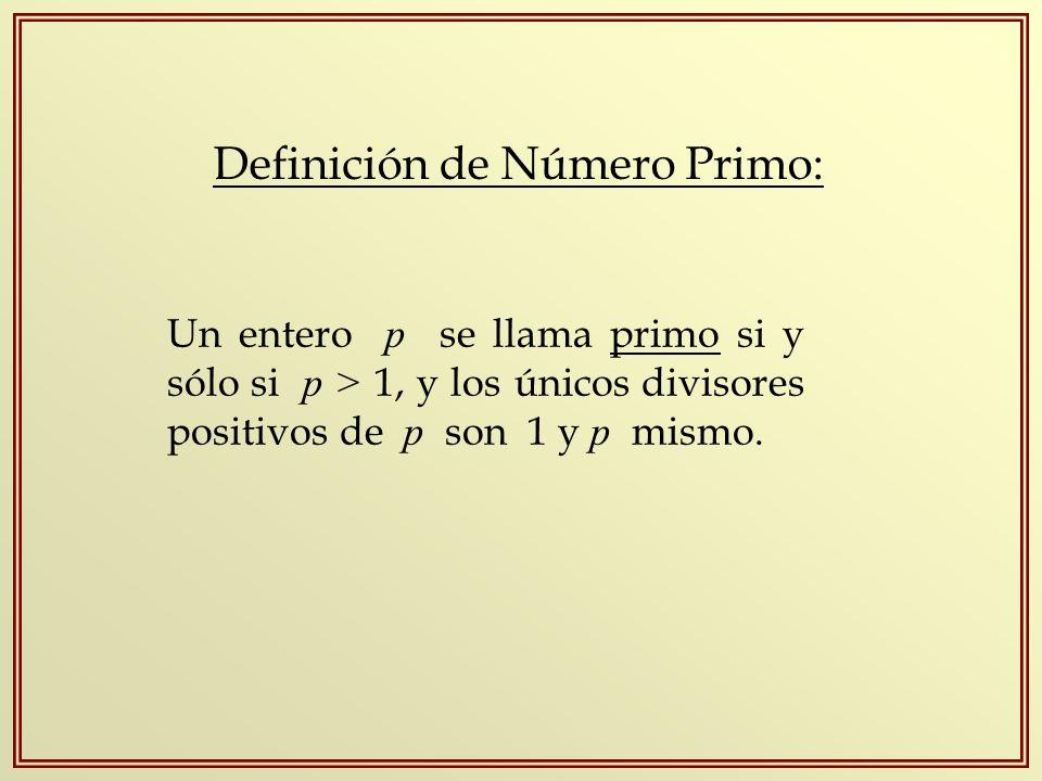Definición de Número Primo: