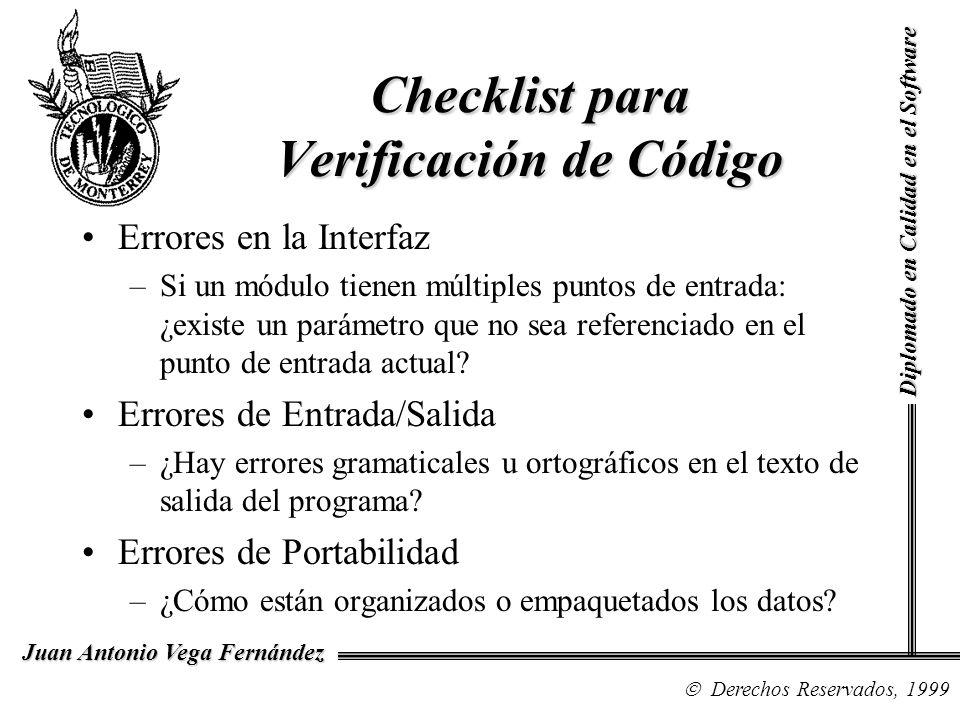 Checklist para Verificación de Código