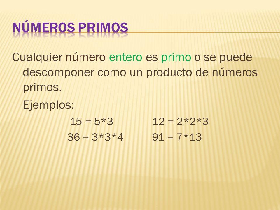 Números Primos Cualquier número entero es primo o se puede descomponer como un producto de números primos.