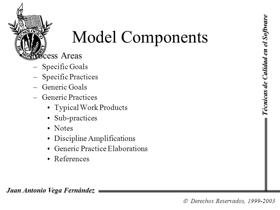 Model Components Process Areas Specific Goals Specific Practices