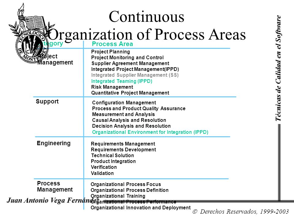 Continuous Organization of Process Areas