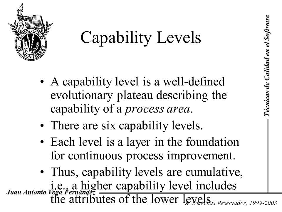Capability Levels Técnicas de Calidad en el Software.