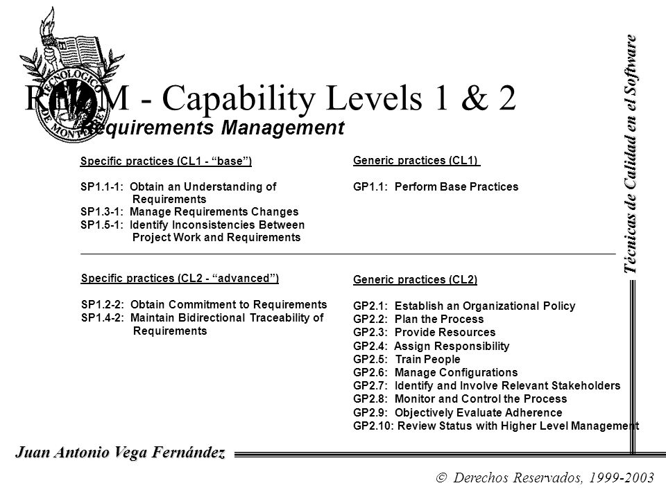REQM - Capability Levels 1 & 2