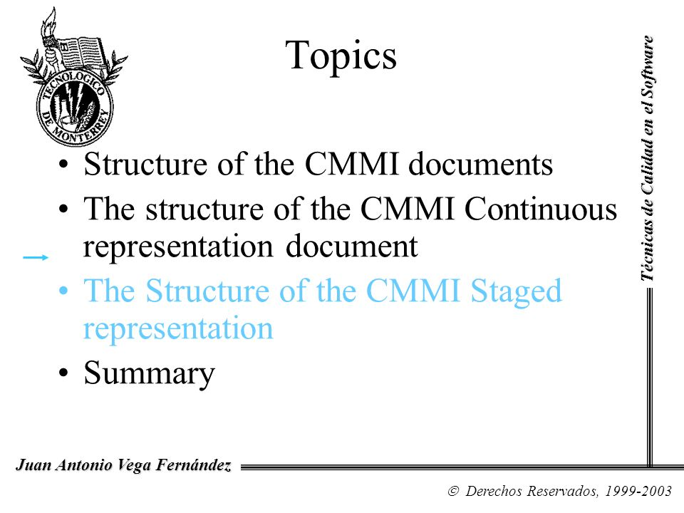 Topics Structure of the CMMI documents
