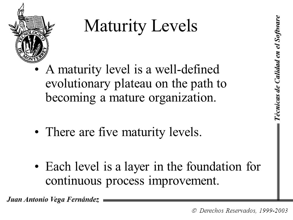 Maturity Levels Técnicas de Calidad en el Software.