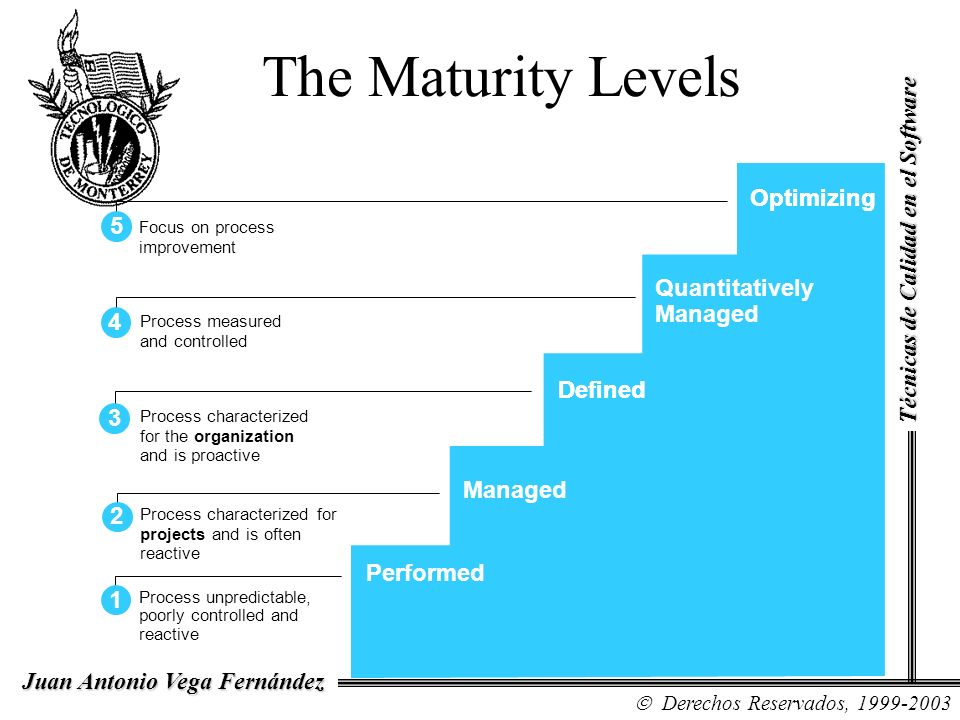 The Maturity Levels Optimizing Optimizing 1 2 3 4 5