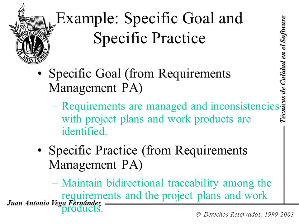 Example: Specific Goal and Specific Practice