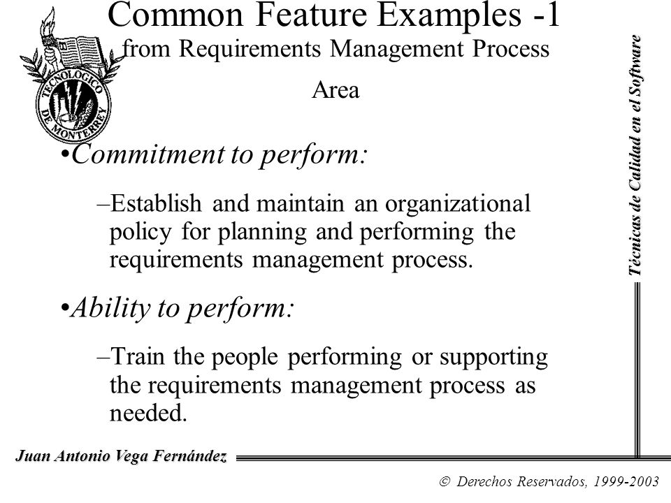 Common Feature Examples -1 from Requirements Management Process Area
