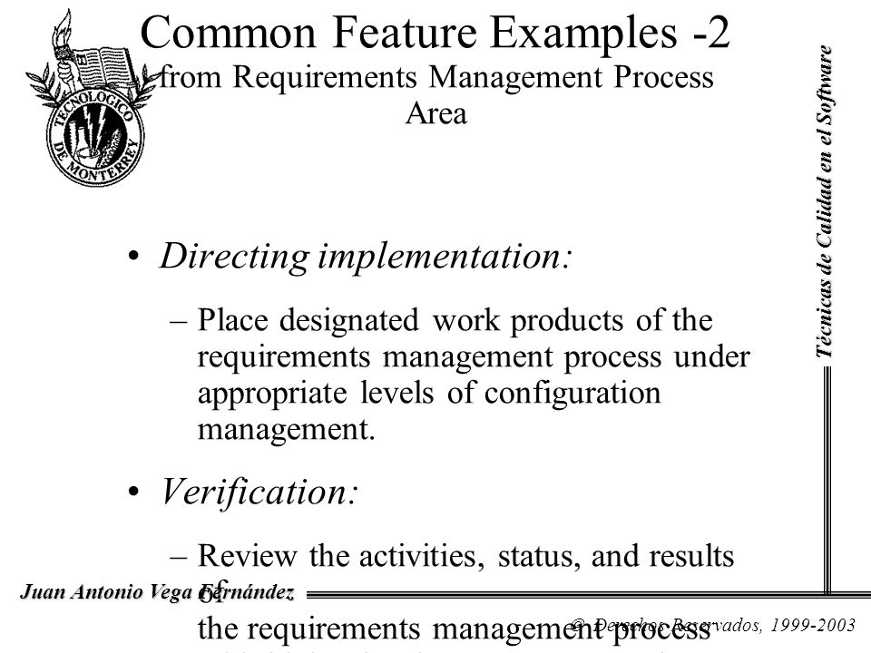 Common Feature Examples -2 from Requirements Management Process Area