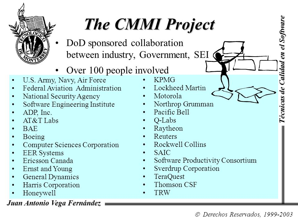 The CMMI Project DoD sponsored collaboration between industry, Government, SEI. Over 100 people involved.