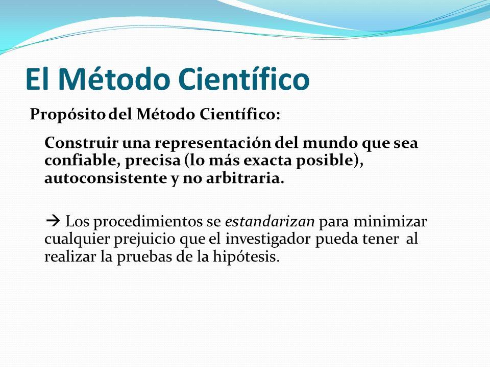 El Método Científico Propósito del Método Científico: