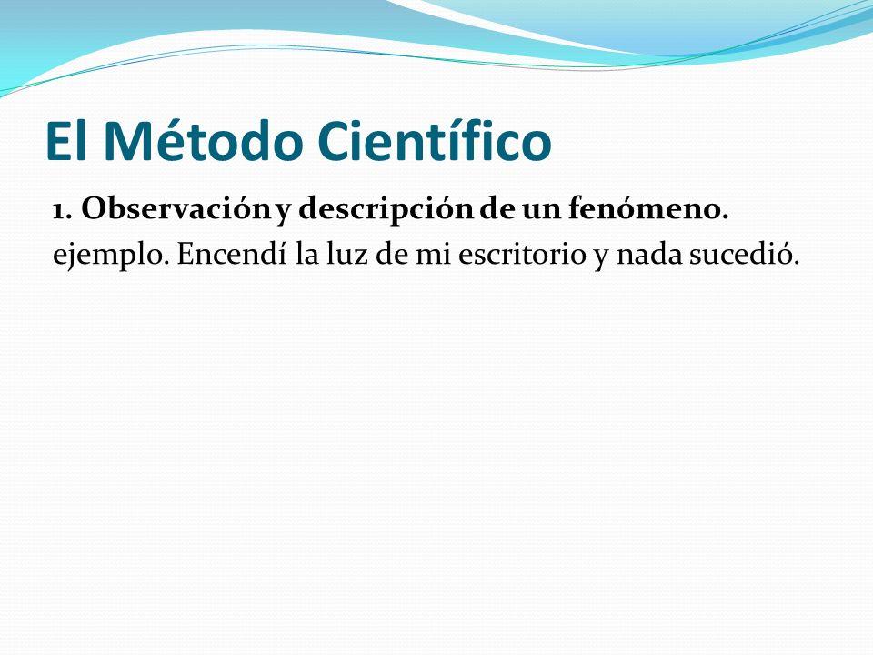 El Método Científico 1. Observación y descripción de un fenómeno.