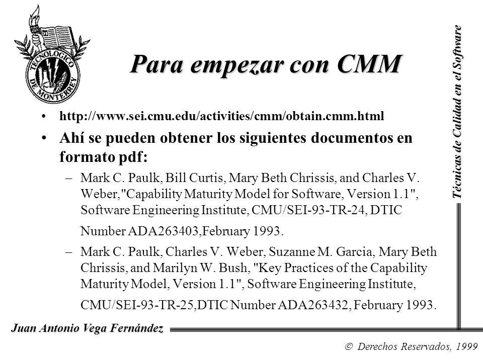 Para empezar con CMMTécnicas de Calidad en el Software. http://www.sei.cmu.edu/activities/cmm/obtain.cmm.html.