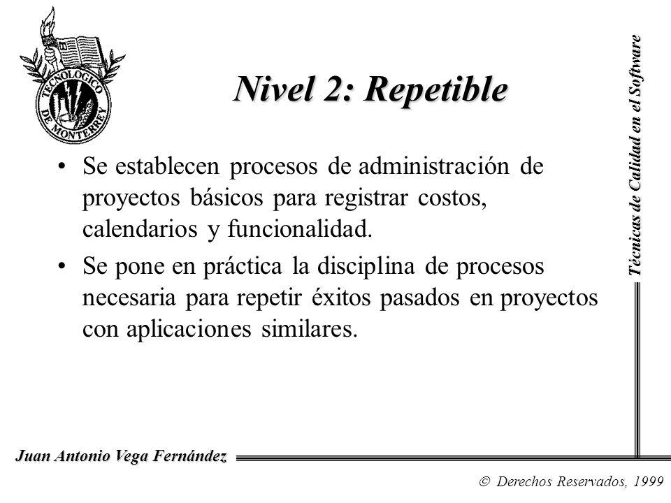 Nivel 2: RepetibleTécnicas de Calidad en el Software.