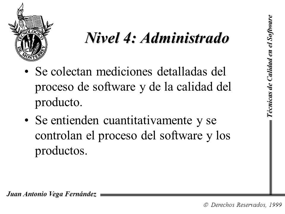 Nivel 4: Administrado Técnicas de Calidad en el Software. Se colectan mediciones detalladas del proceso de software y de la calidad del producto.