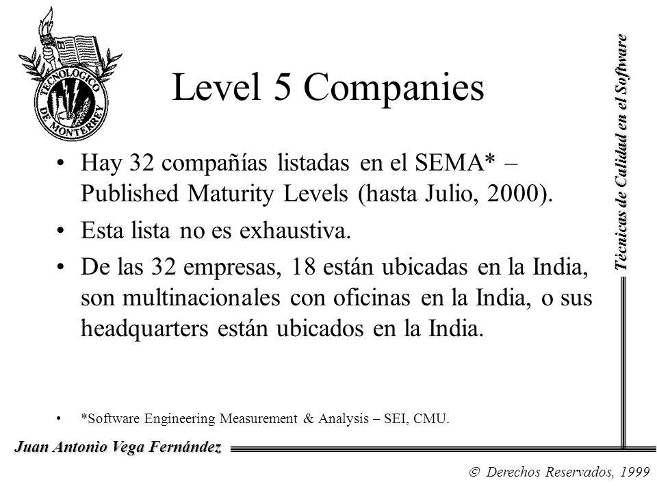 Level 5 Companies Técnicas de Calidad en el Software. Hay 32 compañías listadas en el SEMA* – Published Maturity Levels (hasta Julio, 2000).